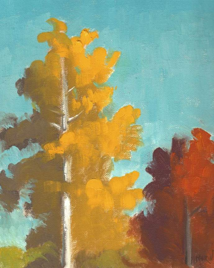 oil painting -landscape-two trees-phil morin
